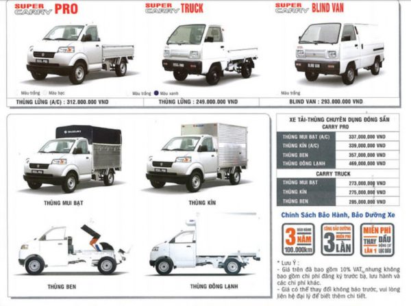 Bảng giá xe tải thương mại Suzuki 2018